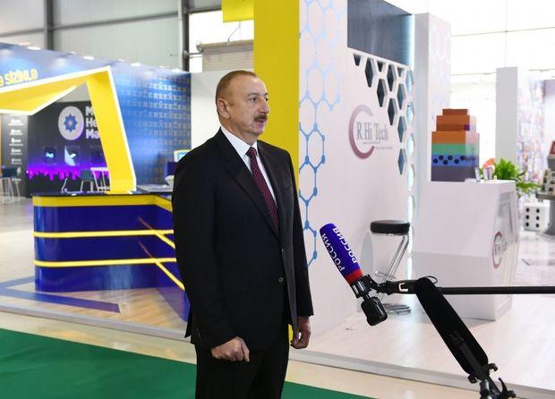 """İlham Əliyev """"Bakutel-2019"""" sərgisində """"Rossiya-24"""" telekanalına müsahibə verib"""
