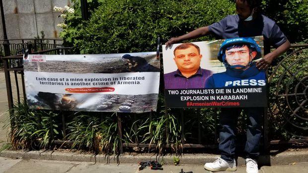 Nyu-Yorkda azərbaycanlı jurnalistlərin ölümü ilə bağlı aksiya keçirildi - FOTO